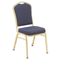 National Public Seating 9364-G Silhouette Style Stack Chair with 2 inch Padded Seat, Gold Metal Frame, and Diamond Navy Fabric Upholstery