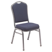 National Public Seating 9364-SV Silhouette Style Stack Chair with 2 inch Padded Seat, Silvervein Metal Frame, and Diamond Navy Fabric Upholstery