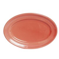 Tuxton Concentrix CNH-096 Cinnebar 9 3/4 inch x 6 1/2 inch Oval China Platter 24/Case