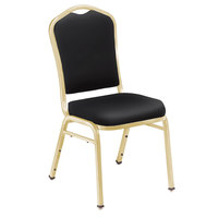 National Public Seating 9310-G Silhouette Style Stack Chair with 2 inch Padded Seat, Gold Metal Frame, and Panther Black Vinyl Upholstery