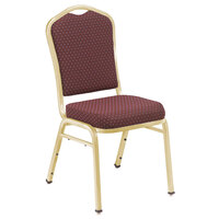National Public Seating 9368-G Silhouette Style Stack Chair with 2 inch Padded Seat, Gold Metal Frame, and Diamond Burgundy Fabric Upholstery