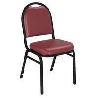 National Public Seating 9208-BT Dome Style Stack Chair with 2 inch Padded Seat, Black Sandtex Metal Frame, and Pleasant Burgundy Vinyl Upholstery