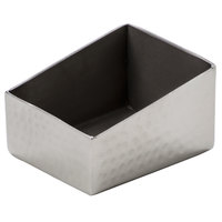 American Metalcraft HMSRSPH3 Rectangular Angled Hammered Stainless Steel Sugar Caddy - 3 1/8 inch x 2 1/2 inch