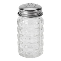 Tablecraft 163S&P 1.5 oz. Nostalgia Glass Salt and Pepper Shakers with Stainless Steel Tops - 12 Shakers / Pack