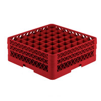 Vollrath TR9EE Traex Full-Size Red 49-Compartment 6 3/8 inch Glass Rack