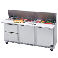 Beverage-Air SPED72-30M-2 72 inch Mega Top Refrigerated Salad / Sandwich Prep Table with Two Doors and Two Drawers