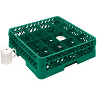 Vollrath TR4DDA Traex Full-Size Green 16-Compartment 7 7/8 inch Cup Rack with Open Rack Extender On Top