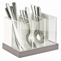 Cal Mil 3015-55 Luxe White Metal 3 Compartment Flatware Organizer with Stainless Steel Base and Acrylic Dividers – 8 1/4 inch x 5 3/4 inch x 6 inch