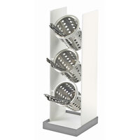Cal Mil 3010-55 Luxe White Metal Vertical Cylinder Flatware Display with Stainless Steel Base – 6 3/4 inch x 7 1/2 inch x 20 1/4 inch