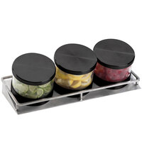 Cal-Mil 1850-4-13 Mixology Stainless Steel Three 16 oz. Jar Horizontal Display with Black Lids- 13 1/2 inch x 5 inch x 4 3/4 inch