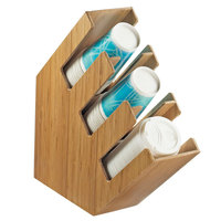 Cal-Mil 2048-3-60 Bamboo Slanted 3 Section Cup and Lid Holder - 4 1/2 inch x 16 1/4 inch x 16 1/4 inch