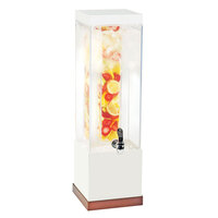 Cal Mil 3002-3INF-51 Luxe 3 Gallon Acrylic Beverage Dispenser with White Metal Frame, Copper Base, and Infusion Chamber – 7 3/4 inch x 7 3/4 inch x 25 3/4 inch