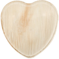 Eco-gecko Sustainable 6 1/2 inch Heart Palm Leaf Plate 25 / Pack