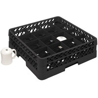 Vollrath TR4DDA Traex Full-Size Black 16-Compartment 7 7/8 inch Cup Rack with Open Rack Extender On Top