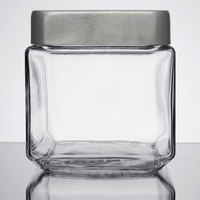 Anchor Hocking 85753 1 Qt. Stackable Glass Jar with Brushed Aluminum Lid