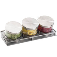 Cal-Mil 1850-4-55 Mixology Stainless Steel Three 16 oz. Jar Horizontal Display with Metal Lids- 13 1/2 inch x 5 inch x 4 3/4 inch