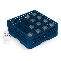 Vollrath TR4DA Traex Full-Size Royal Blue 16-Compartment 6 3/8 inch Cup Rack with Open Rack Extender On Top