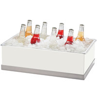 Cal Mil 3005-12-55 Luxe White Metal Ice and Beverage Housing Display with Stainless Steel Base and Clear Polycarbonate Bin - 12 1/4 inch x 20 1/4 inch x 6 1/4 inch