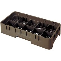 Cambro 10HS958167 Brown Camrack 10 Compartment 10 1/8 inch Half Size Glass Rack