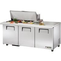 True TSSU-72-18M-B-ADA 72 inch Mega Top Three Door ADA Height Sandwich / Salad Prep Refrigerator