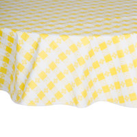 60 inch Round Yellow Checkered Vinyl Table Cover with Flannel Back
