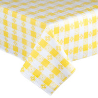 Yellow Checkered Vinyl Table Cover with Flannel Back - 25 Yard Roll