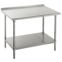 """Advance Tabco SFLAG-304-X 30"""" x 48"""" 16 Gauge Stainless Steel Work Table with 1 1/2"""" Backsplash and Stainless Steel Undershelf"""