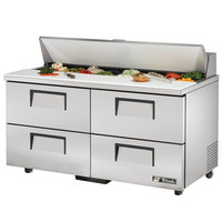 True TSSU-60-16D-4-ADA 60 inch Four Drawer ADA Height Sandwich / Salad Prep Refrigerator