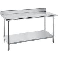 "Advance Tabco SKG-246 24"" x 72"" 16 Gauge Super Saver Stainless Steel Commercial Work Table with Undershelf and 5"" Backsplash"