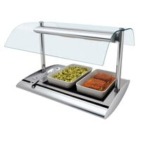 Hatco SRGBW-1 Anodized Nickel Serv-Rite Portable Heated Glass Buffet Warmer with Overhead Heating - 650W