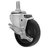 All Points 26-3306 4 inch Swivel Threaded Stem Caster with Brake - 5/8 inch-11 x 1 1/2 inch Stem, 240 lb. Capacity