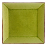CAC 666-5G Japanese Style 5 inch Square China Plate - Black Non-Glare Glaze / Golden Green - 36/Case