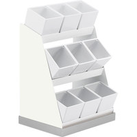 Cal-Mil 3018-55-15 Luxe Condiment Display with Melamine Jars and Stainless Steel Base - 12 1/4 inch x 9 inch x 15 1/2 inch