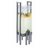 Cal Mil 3302-3-74 One by One 3 Gallon Acrylic Beverage Dispenser with Silver Frame and Ice Chamber - 9 inch x 9 inch x 28 1/2 inch