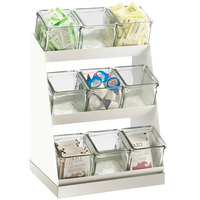 Cal-Mil 3018-55-12 Luxe Condiment Display with Glass Jars and Stainless Steel Base - 12 1/4 inch x 9 inch x 15 1/2 inch
