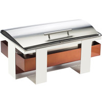 Cal-Mil 3017-51 Luxe Full-Size Stainless Steel and Copper Roll Top Chafer