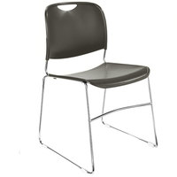 National Public Seating 8502 Gunmetal Gray Stackable Ultra Compact Plastic Chair with Chrome Frame