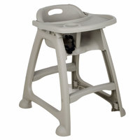 Choice Gray Polypropylene Stackable High Chair with Tray (Ready to Assemble, No Wheels)