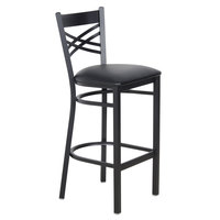 Lancaster Table & Seating Cross Back Bar Height Chair with 2 1/2 inch Padded Seat