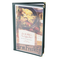 Menu Solutions SE350D-GREEN Quad Panel Booklet Menu Jacket with 8 Views - 8 1/2 inch x 14 inch