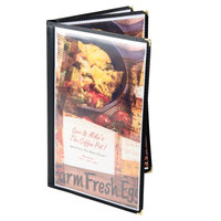 Menu Solutions SE340D-BLACK Triple Panel Booklet Menu Jacket with 6 Views - 8 1/2 inch x 14 inch