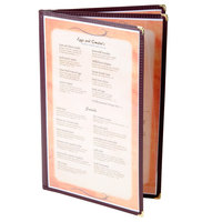 8 1/2 inch x 14 inch Menu Solutions SE340D-BURG Triple Panel Booklet Menu Jacket with 6 Views - Burgundy
