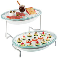 Cal-Mil GL2400-39 Platinum Glacier Two Tier Fresco Oval Bowl Display with Acrylic Chiller Sets - 20 inch x 20 inch x 14 inch