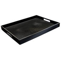 14 inch x 19 inch Black Polypropylene Gator Room Service Tray with Handles