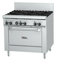 Garland GFE36-4G12R Liquid Propane 4 Burner 36 inch Range with Flame Failure Protection and Electric Spark Ignition, 12 inch Griddle, and Standard Oven - 120V, 160,000 BTU