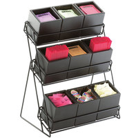 Cal-Mil 1817-96 Midnight Nine Bin Tiered Display - 13 inch x 9 1/2 inch x 17 1/2 inch
