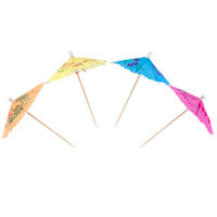 Royal Paper RP144 4 inch Drink Umbrella / Parasol Pick with Assorted Colors - 144 / Box