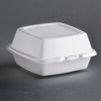 Dart Solo 60HT1 6 inch x 6 inch x 3 inch White Foam Hinged Lid Container 500/Case