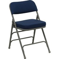 Navy Blue Metal Folding Chair with 2 1/2 inch Padded Fabric Seat