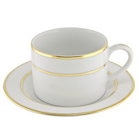 10 Strawberry Street GLD0009 6 oz. Double Line Gold Can Cup with Saucer - 24 / Case